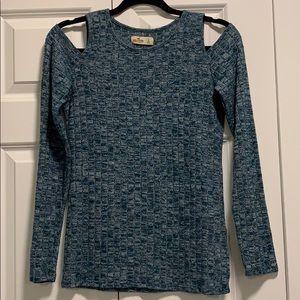 Hollister Ribbed Cold Shoulder Long Sleeve Sweater